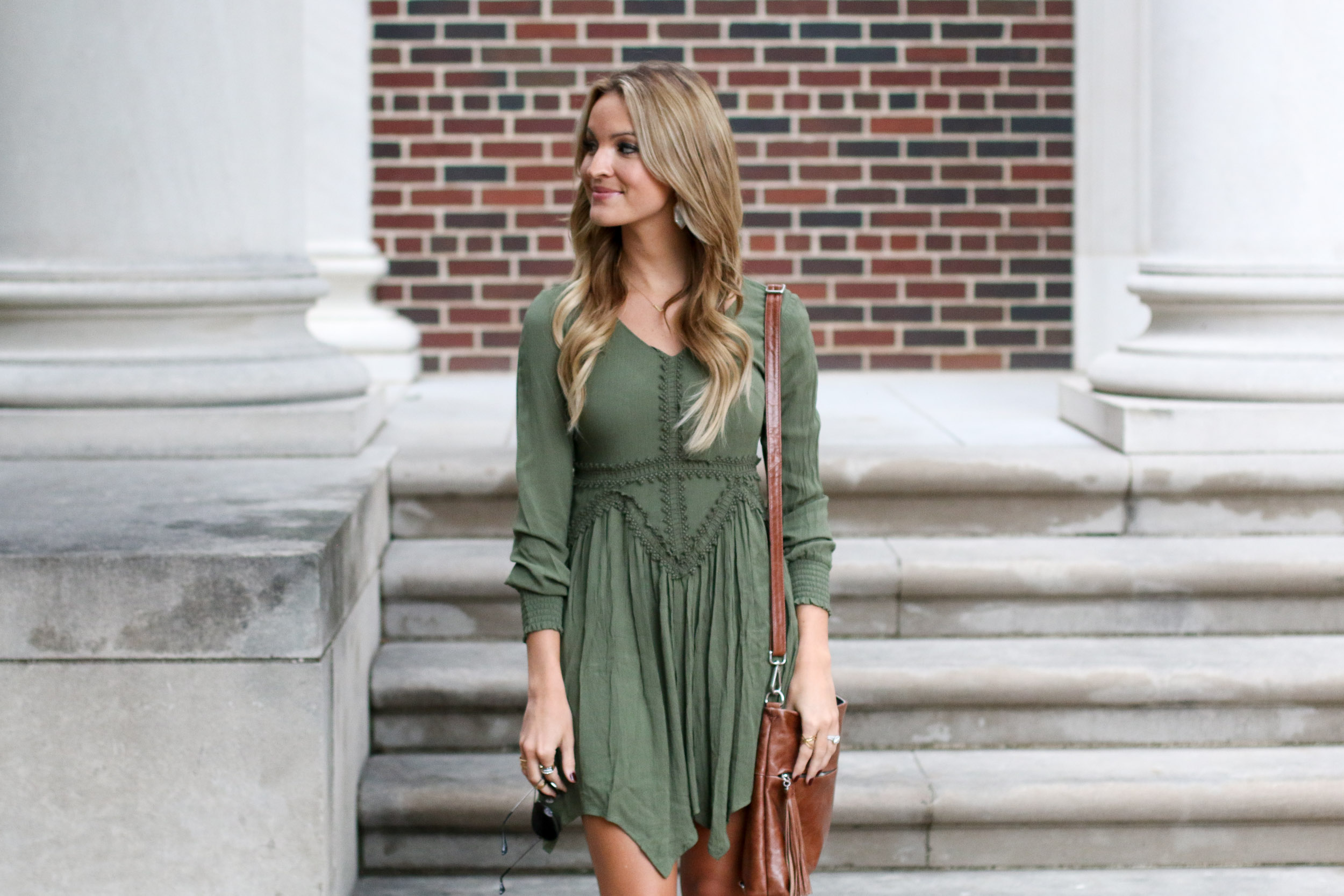 olive + crochet = perfect fall dress