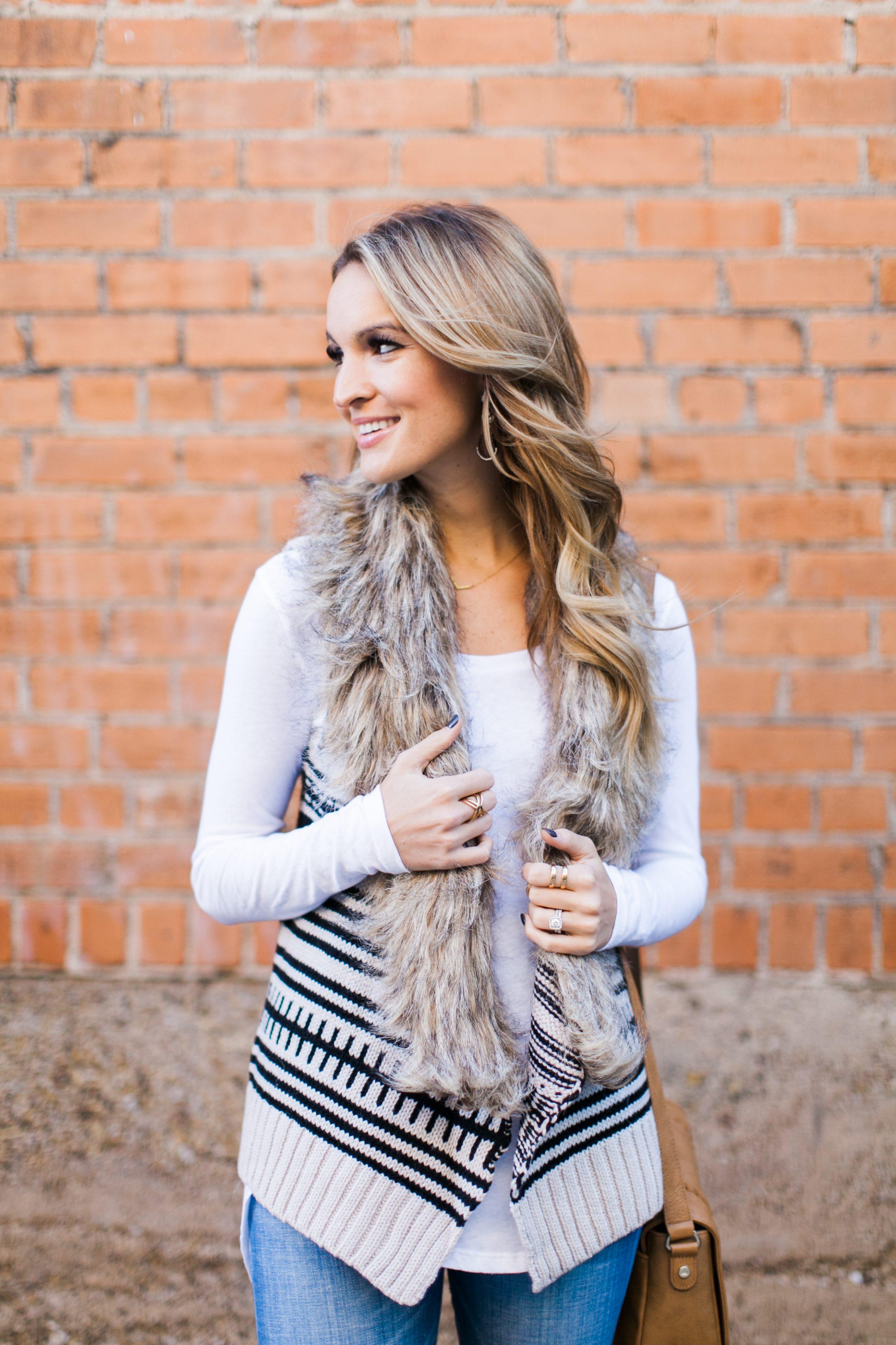 knit + fur vest + cyber monday deals