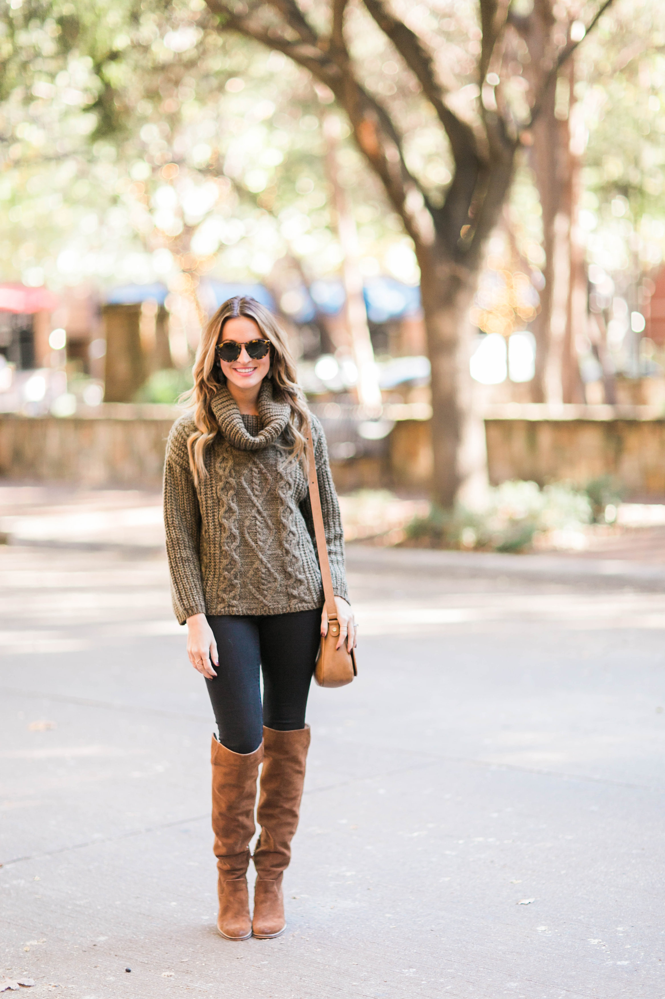 olive cowl neck sweater + camel