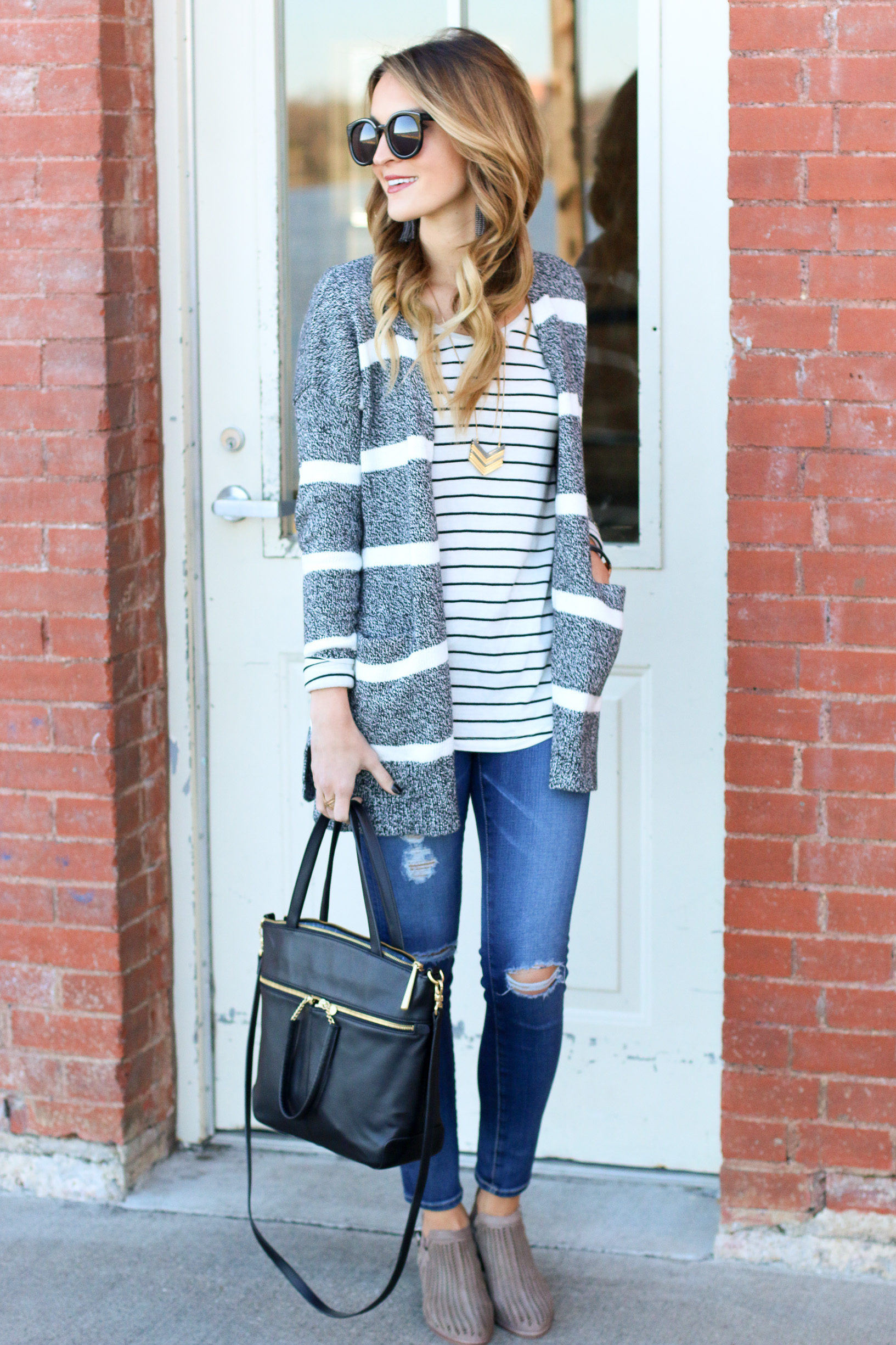 striped cardigan + new favorite booties
