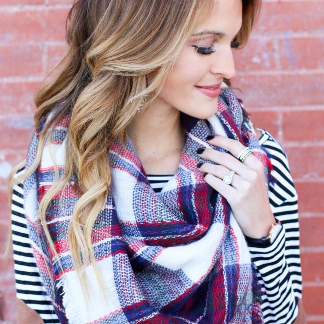 lauren kay sims wearing plaid blanket scarf