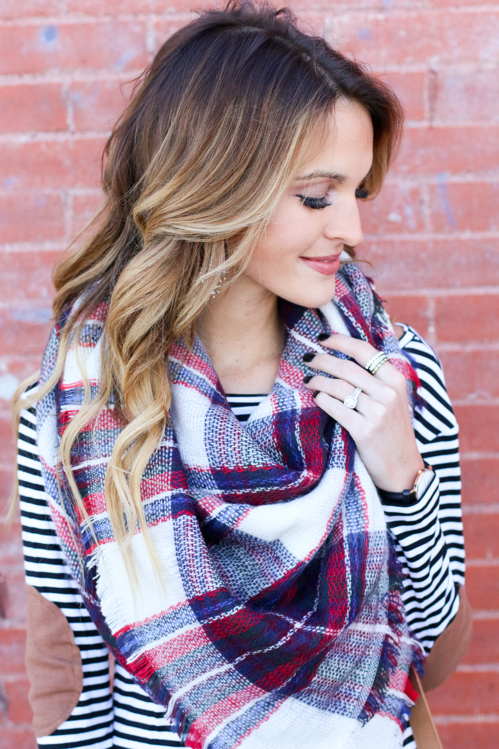 stripes + plaid blanket scarf