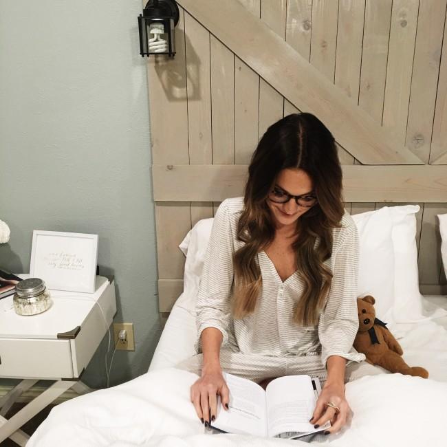 lauren kay sims wearing eberjey pajamas