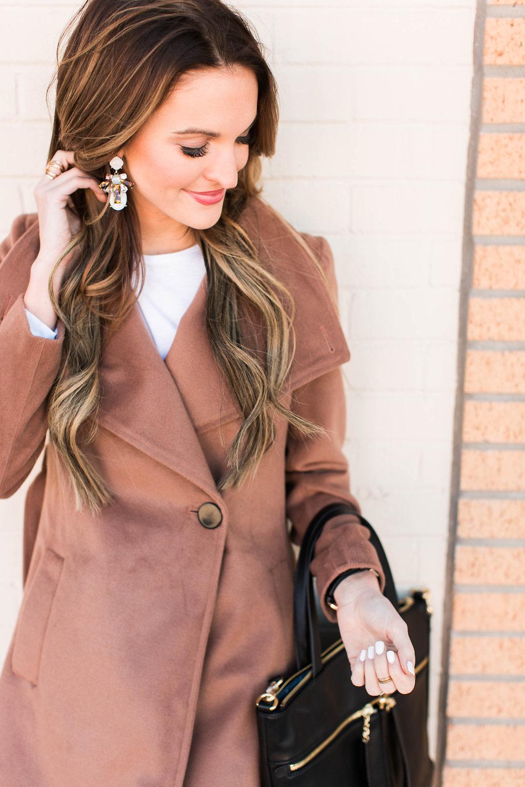 classic camel coat + lace-up flats