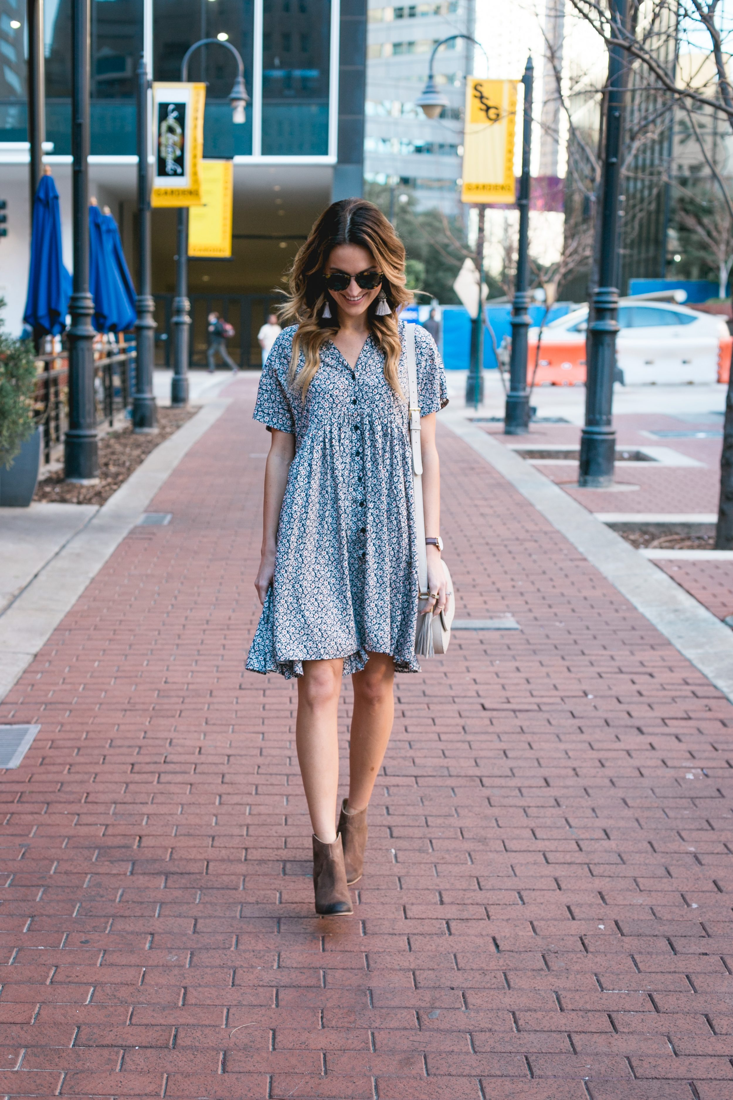 anthropologie dress + booties under $100