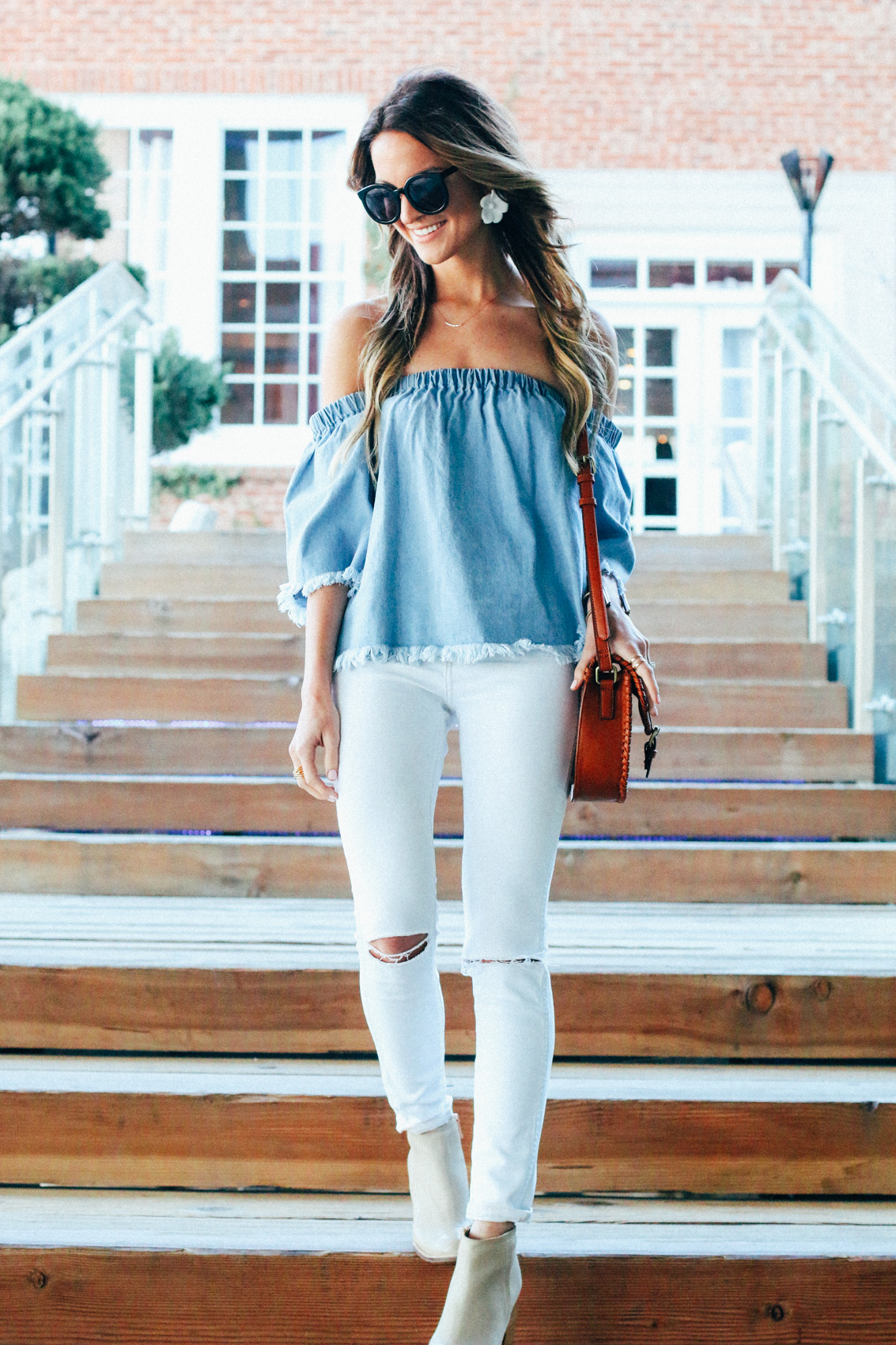 denim + off the shoulder