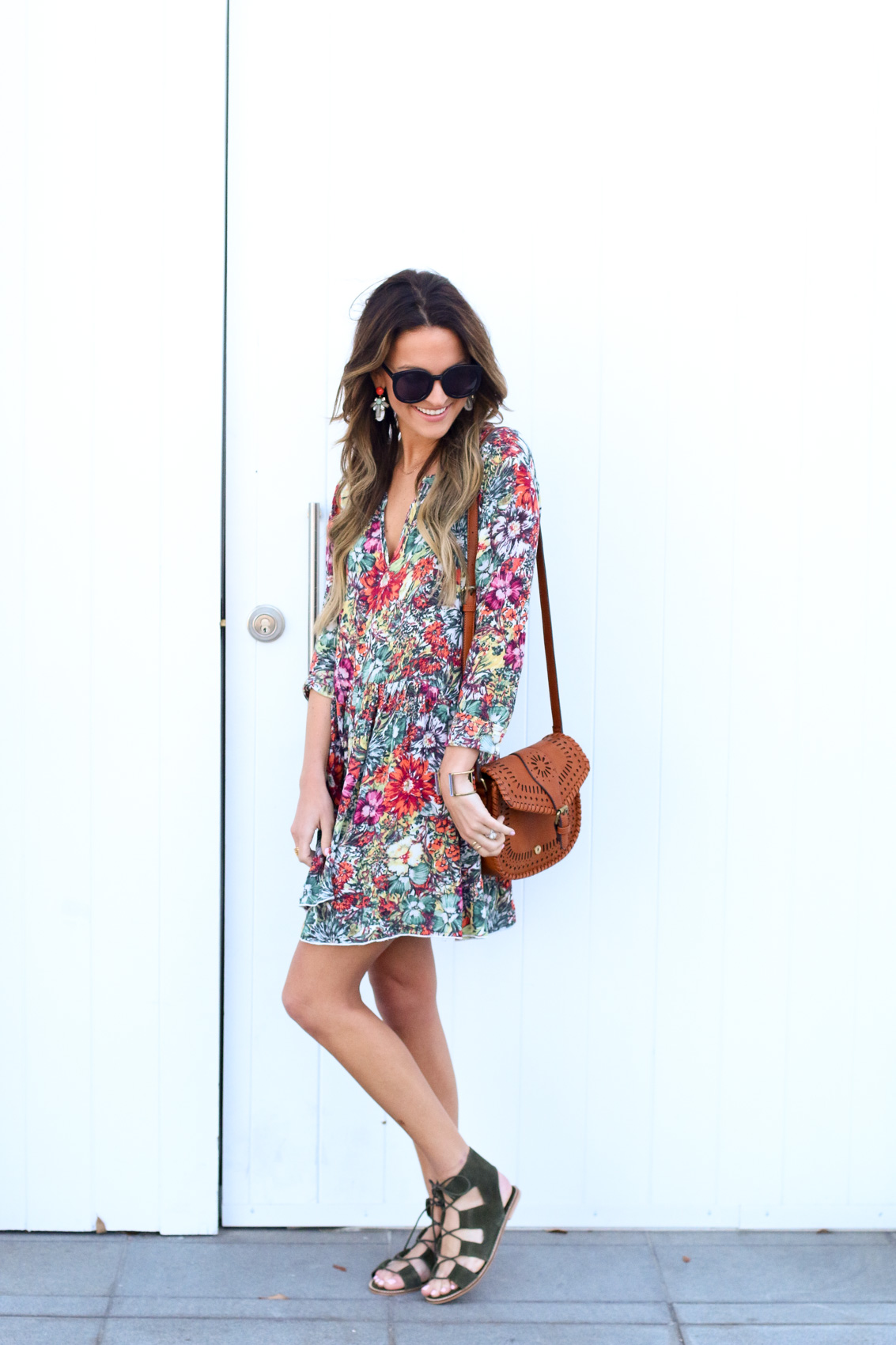 boho shirt dress + lace-up sandals