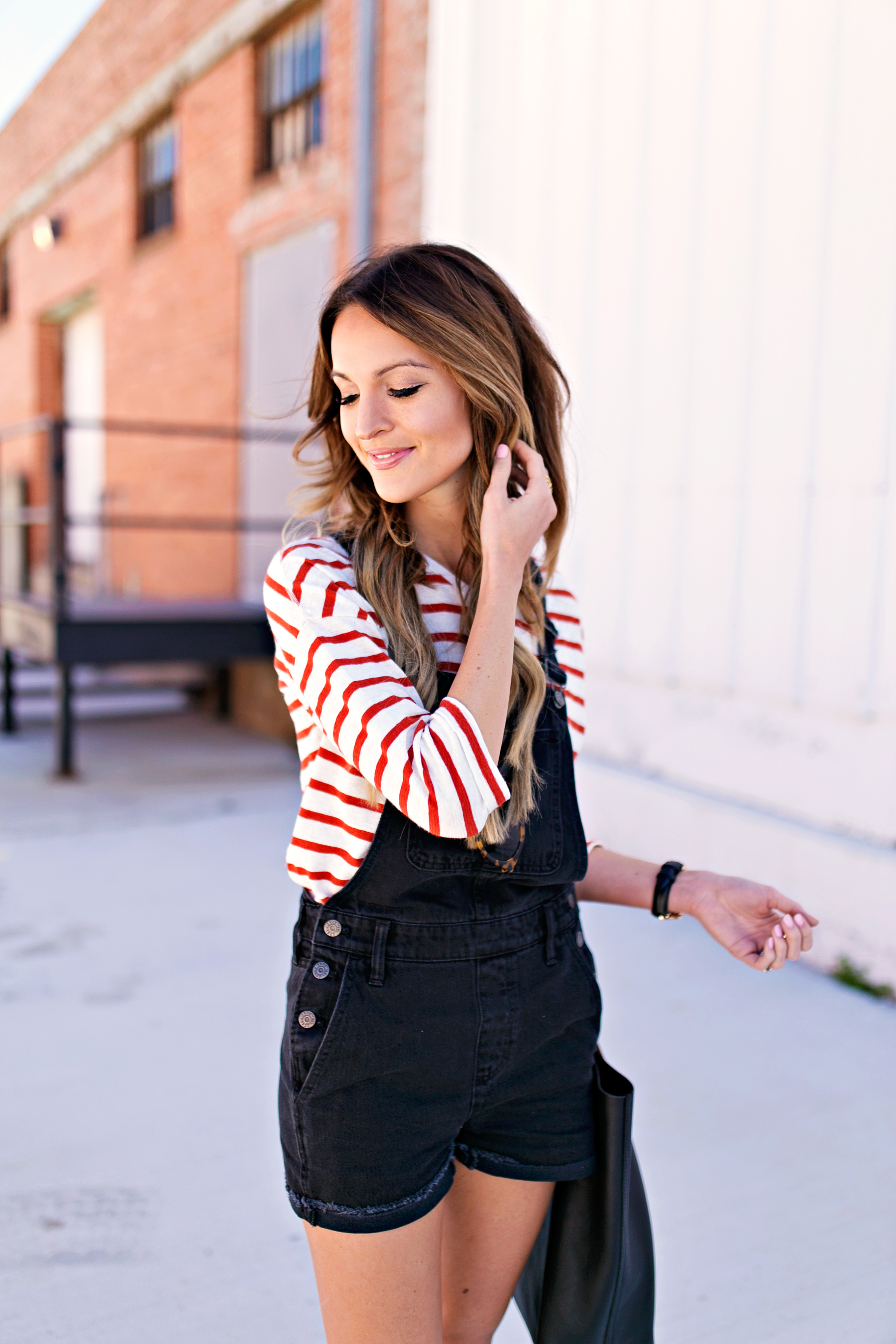 Stripes And Denim Overalls Lauren Kay Sims