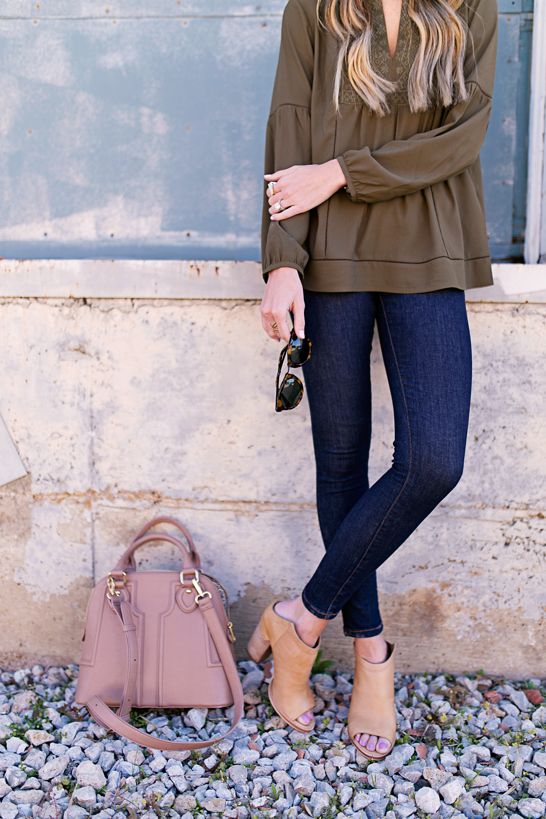 army green blouse + mules
