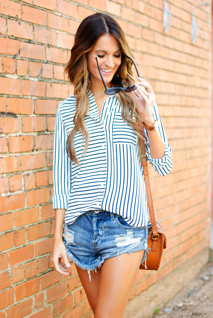 striped button down + cut-offs