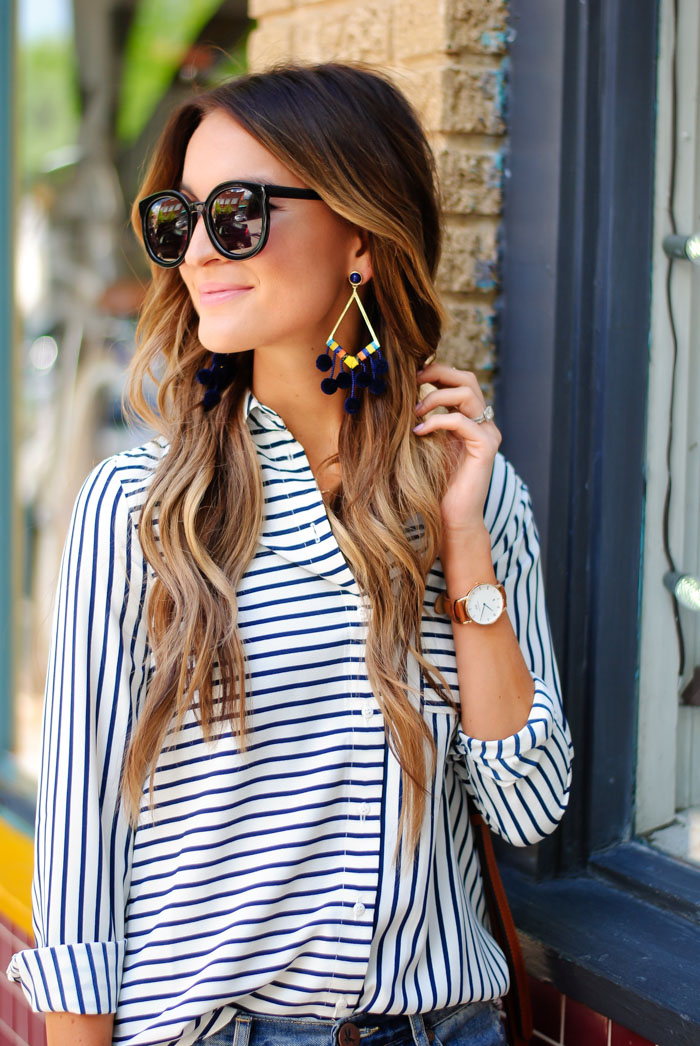 lauren kay sims striped button down shirt