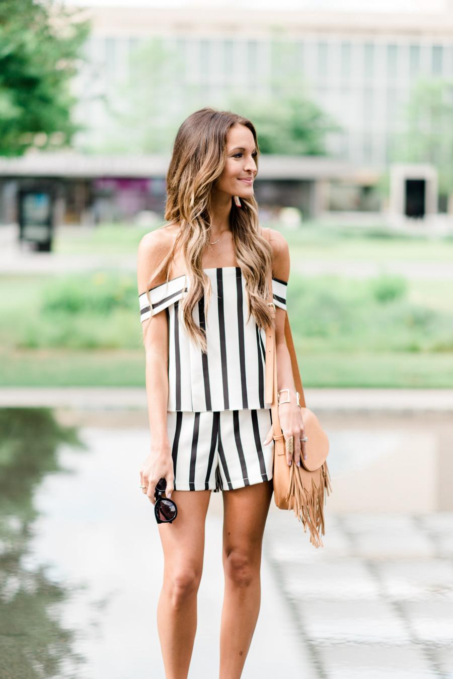 striped romper: fun + flattering