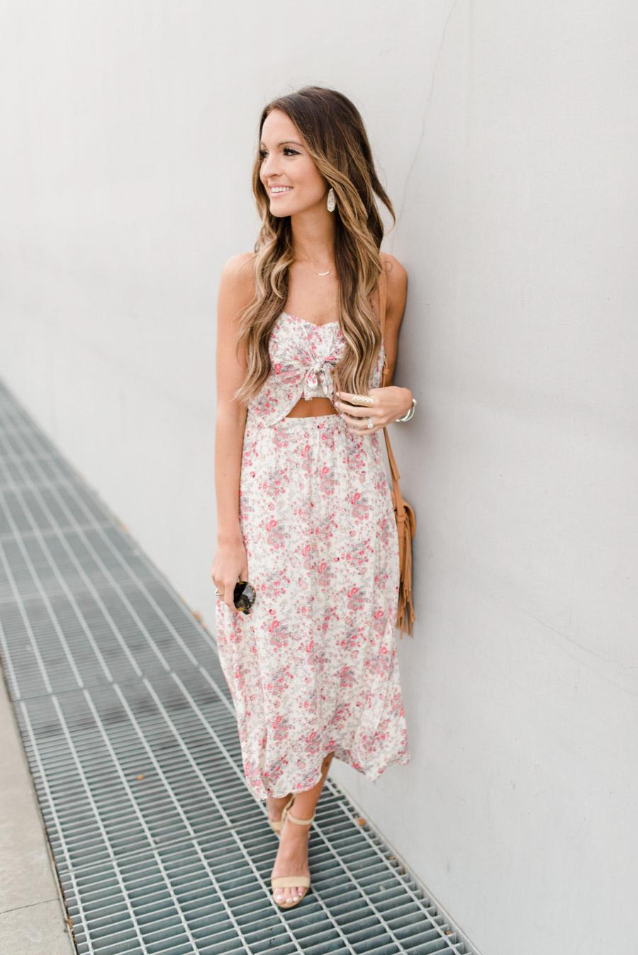 floral tie front dress