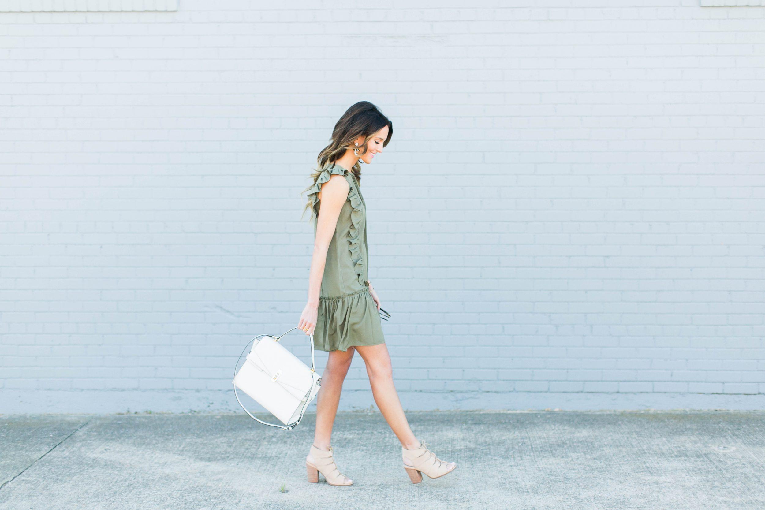 lauren kay sims olive green dress