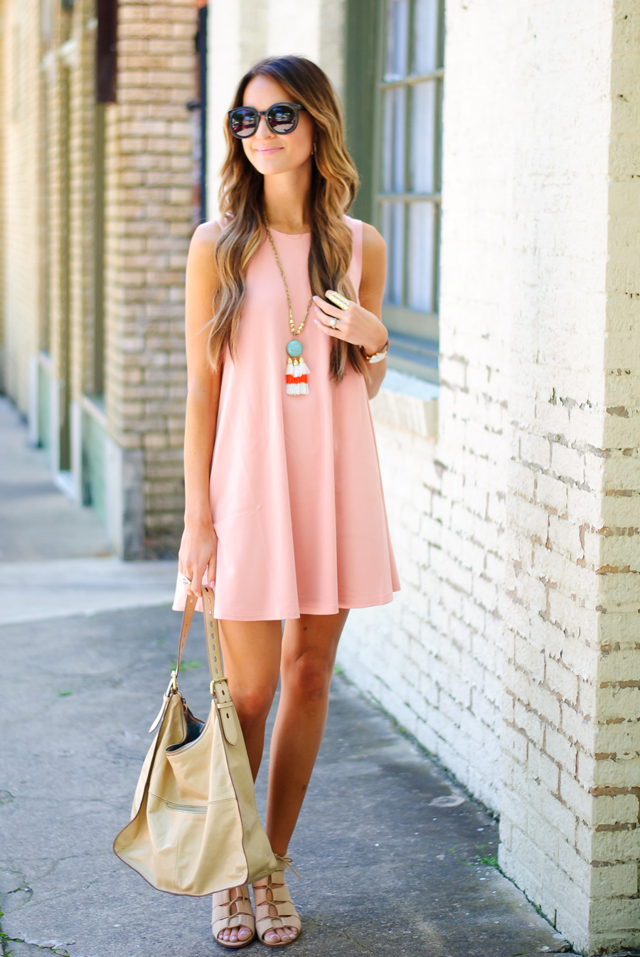 coral swing dress + lace-up heels