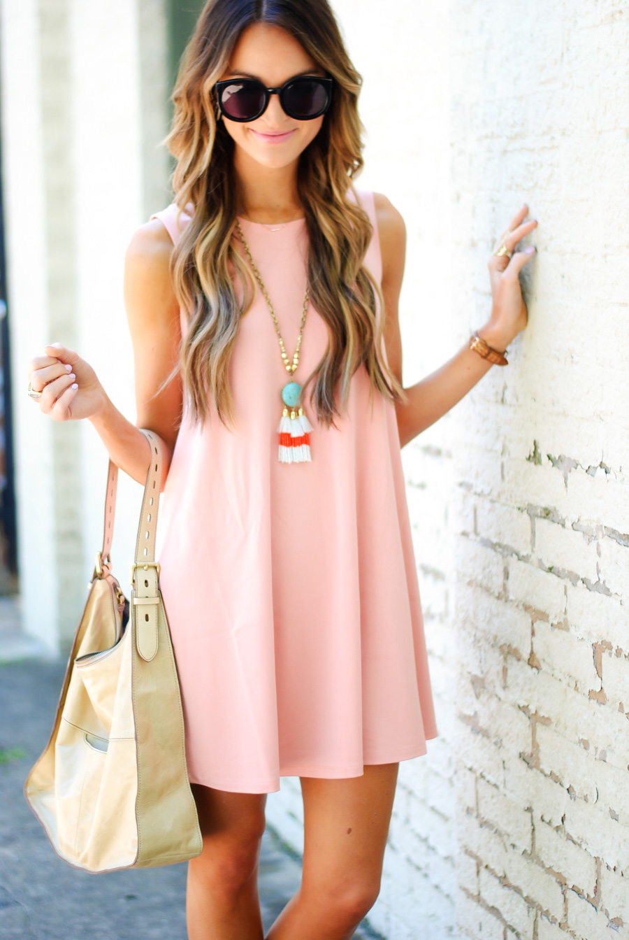 lauren sims coral swing dress