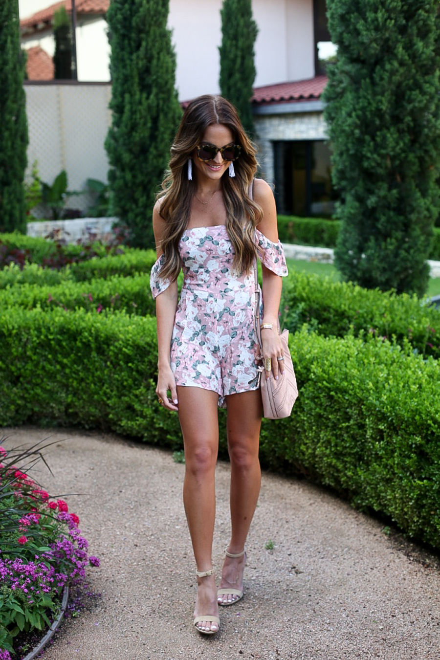 pink + off the shoulder romper