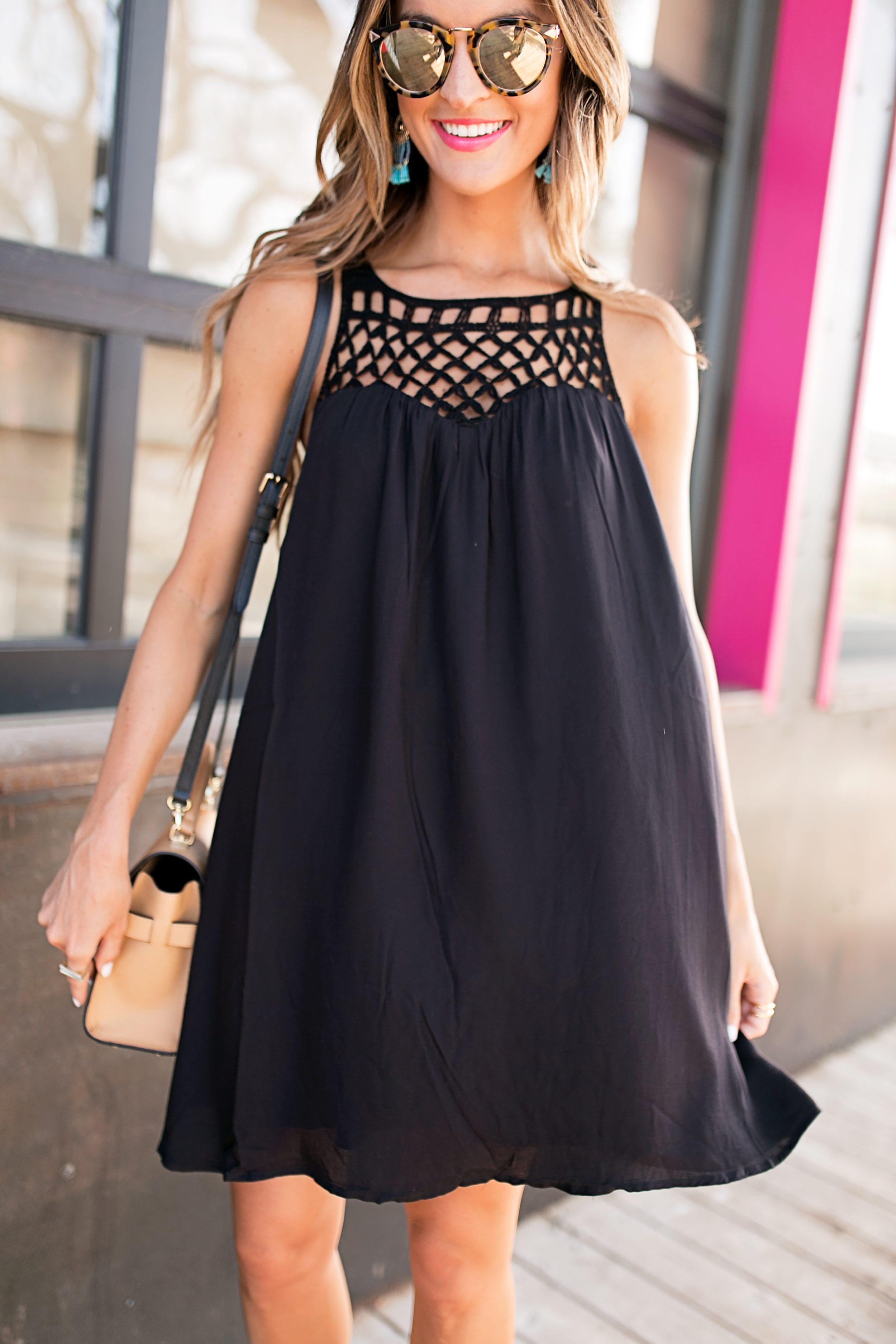 budget-friendly little black dress + espadrille wedges - Lauren Kay Sims