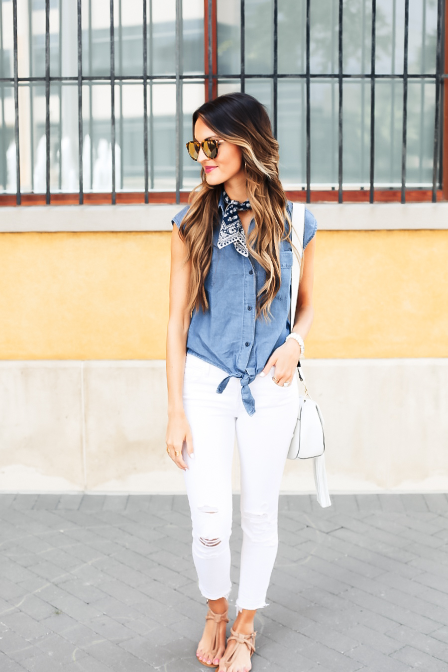 all-american: denim top + bandana