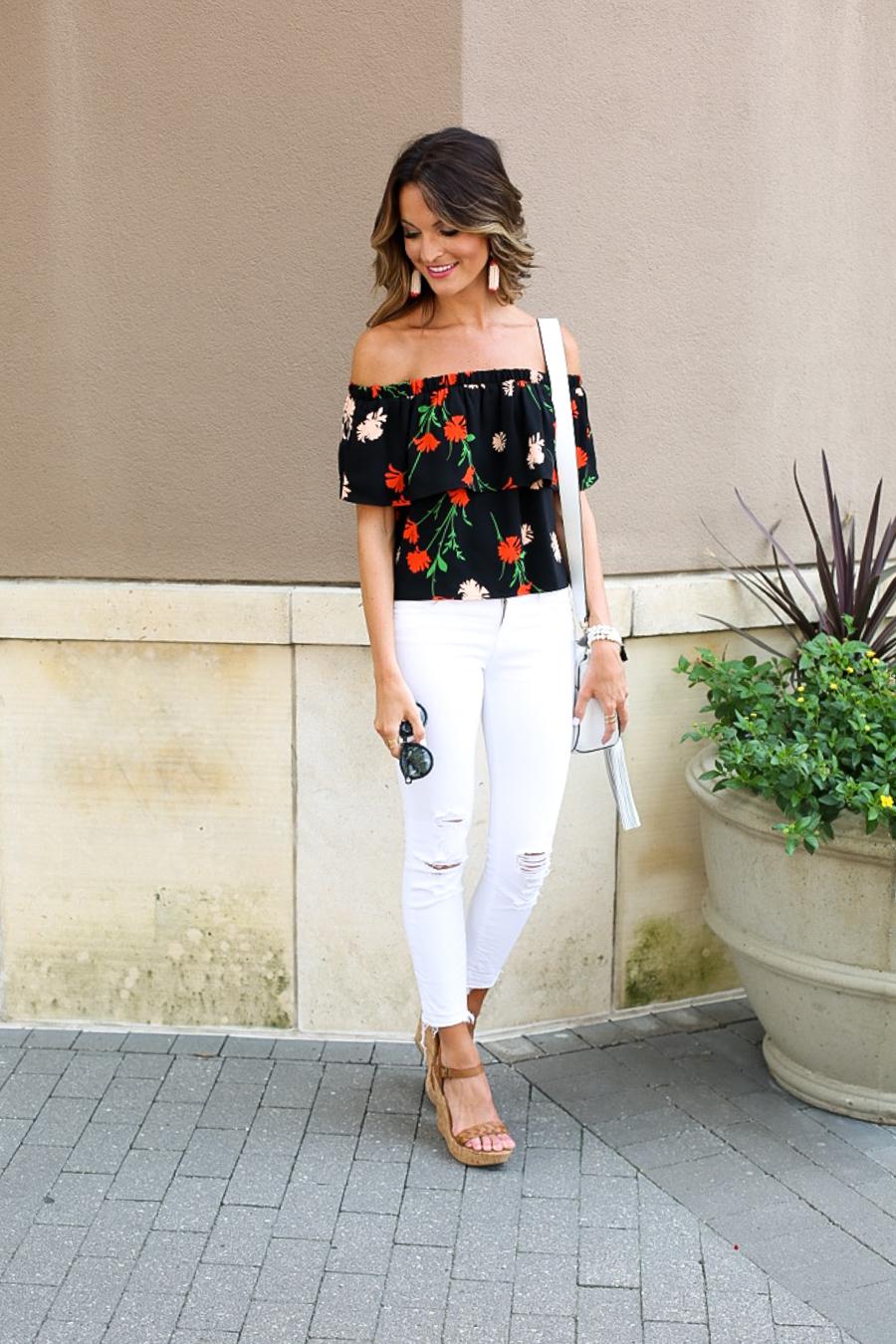 lauren sims floral off the shoulder top