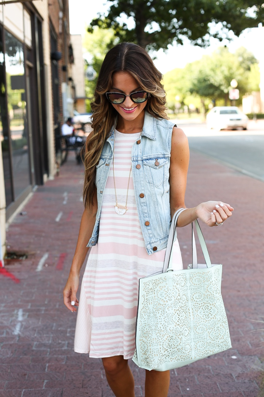 striped swing dress + denim vest