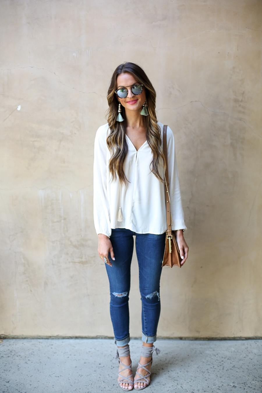 white tassel top + fall staples