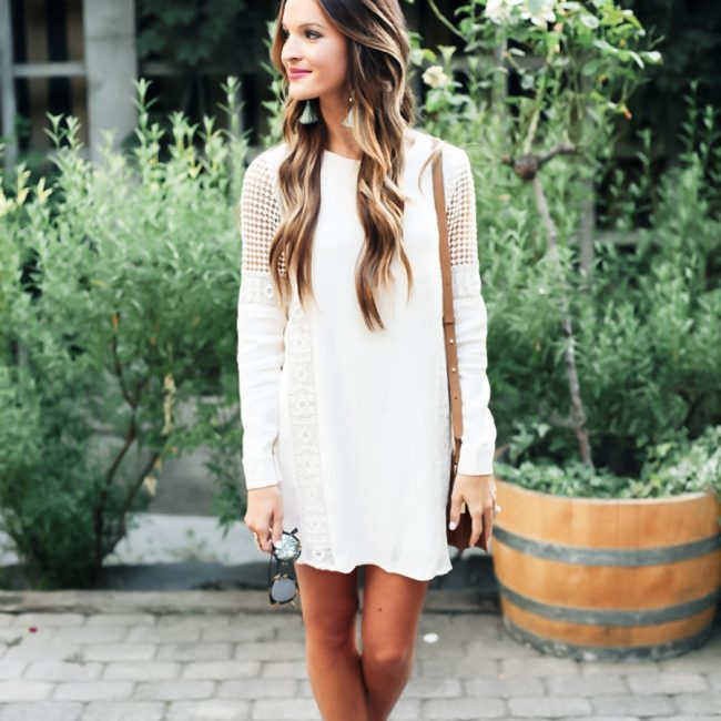 lauren sims cream crochet dress
