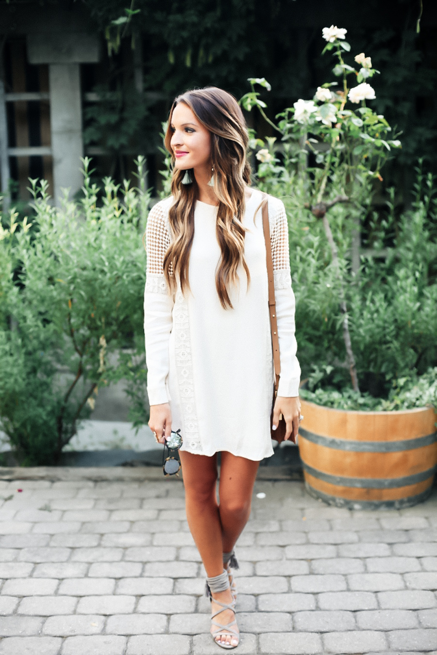 cream crochet dress + favorite heels