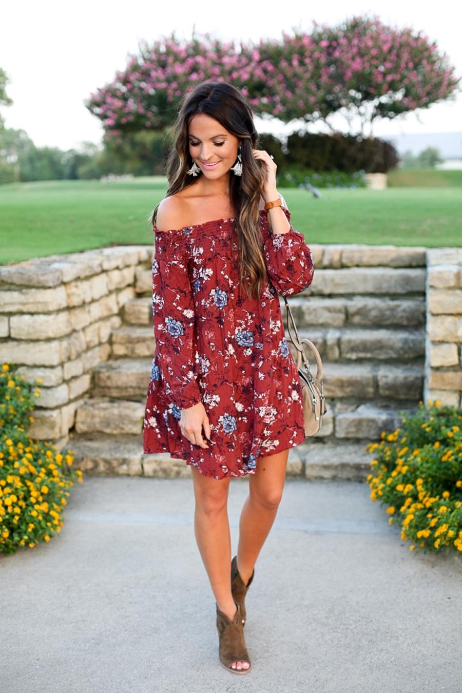 floral off the shoulder dress (under $50!)