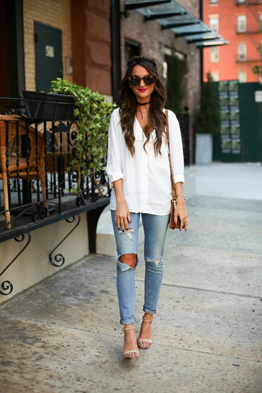 slouchy white blouse + boyfriend jeans