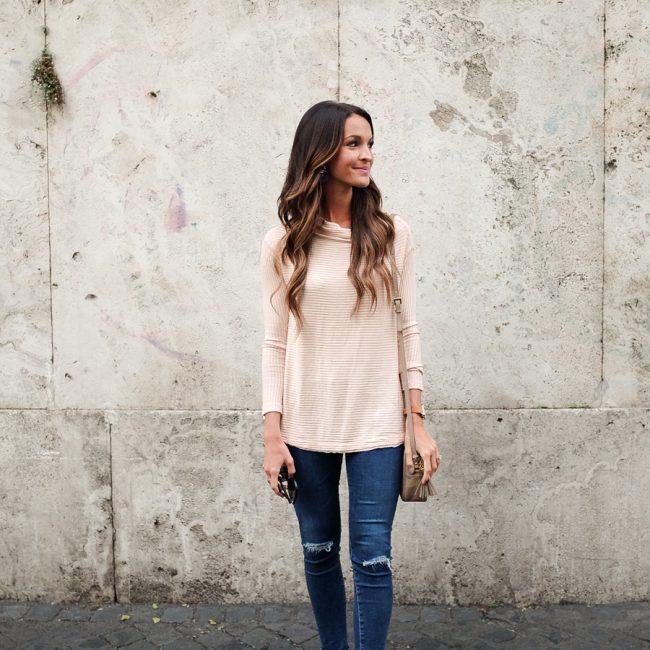 lauren sims blush pink sweater