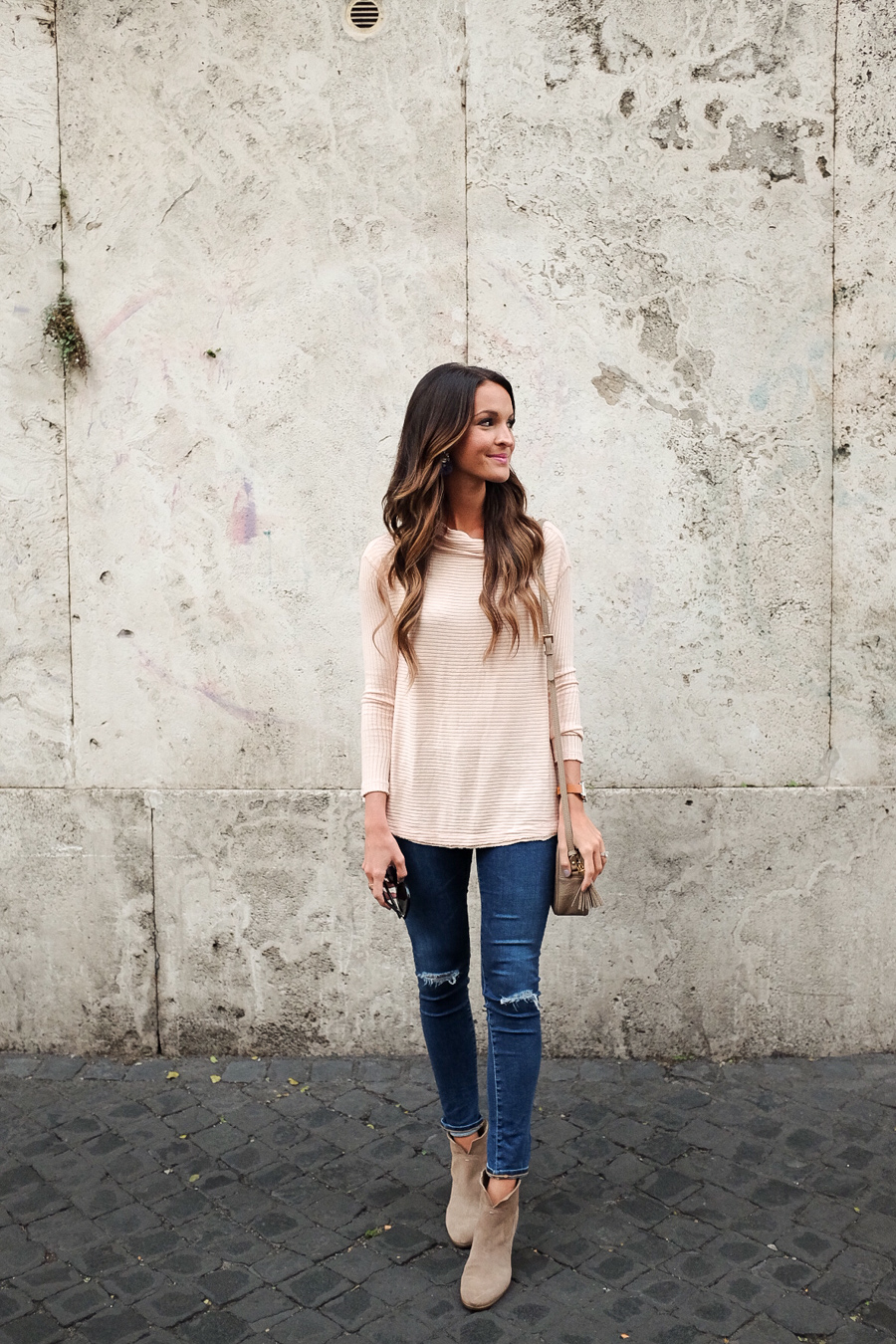 blush pink sweater + distressed denim