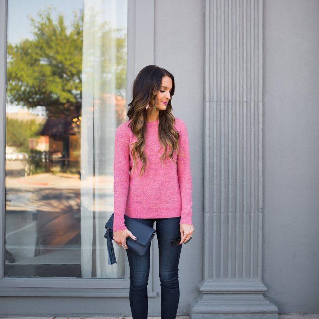 lauren sims pink sweater