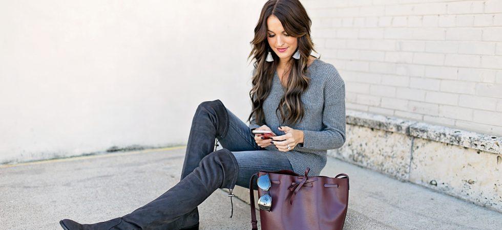 lauren sims grey jeans
