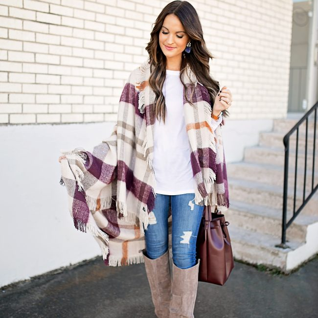 lauren sims plaid blanket wrap