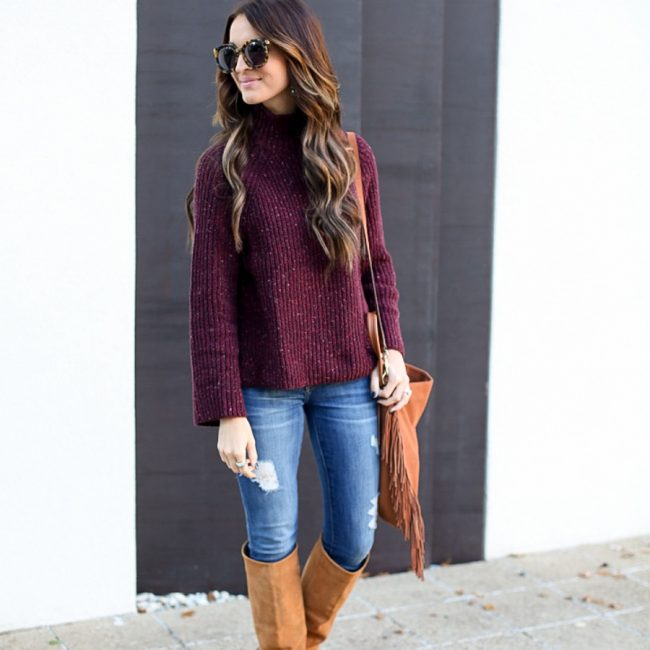 lauren sims mock neck sweater