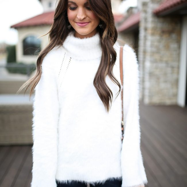 lauren sims white fuzzy sweater