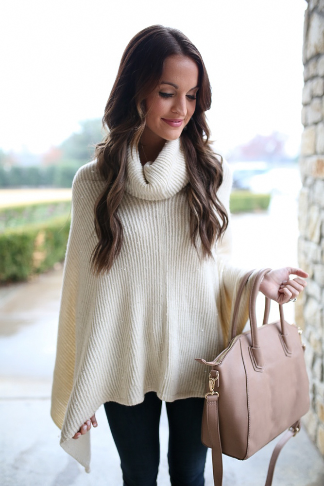 anthro sequin poncho sweater