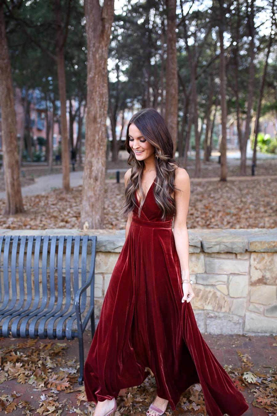 velvet maxi dress + blogging behind the lens