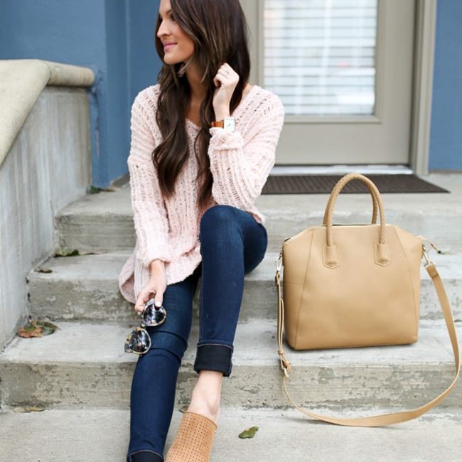 lauren sims blush pink sweater