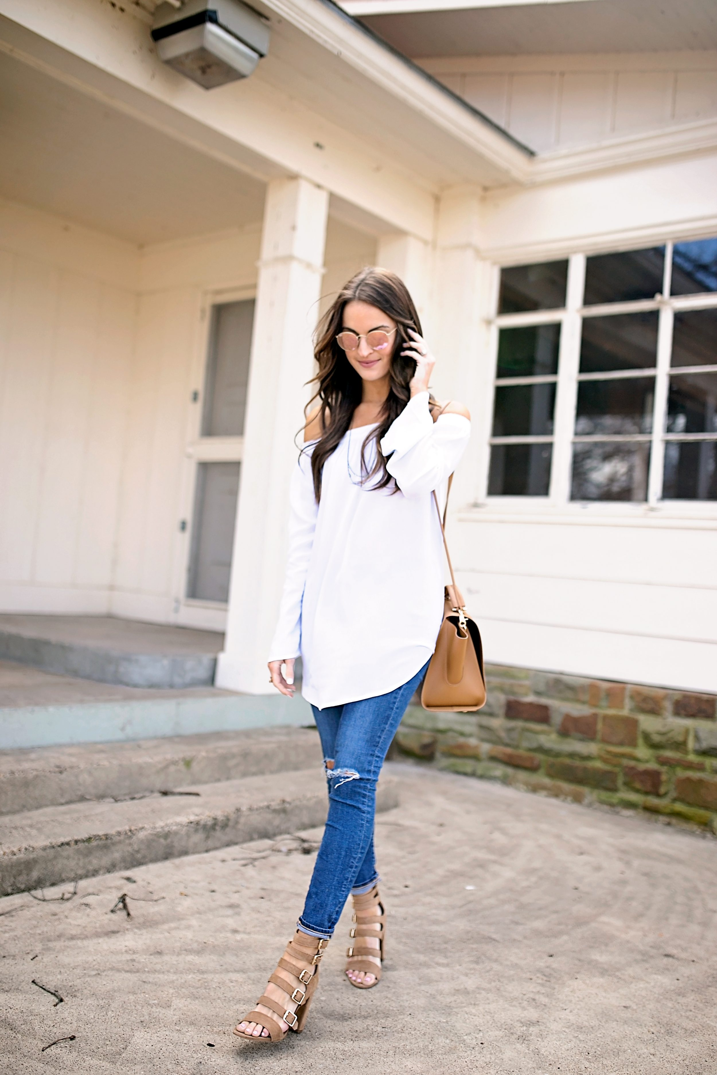 lauren sims off the shoulder tunic