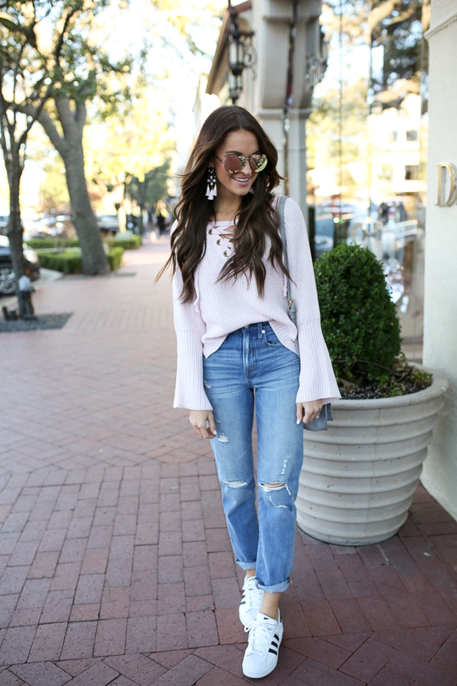 lauren sims lace up sweater