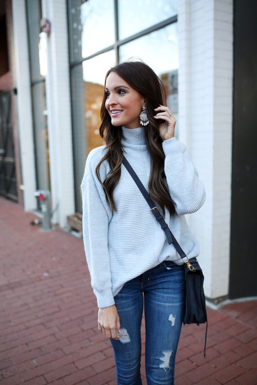 lauren sims baby blue sweater
