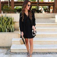 lauren sims black babydoll dress