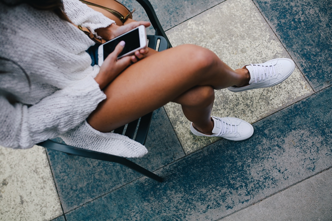lauren sims white sneakers