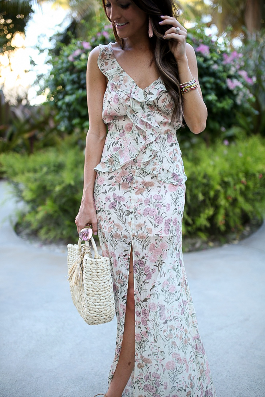 lauren sims ruffle maxi dress