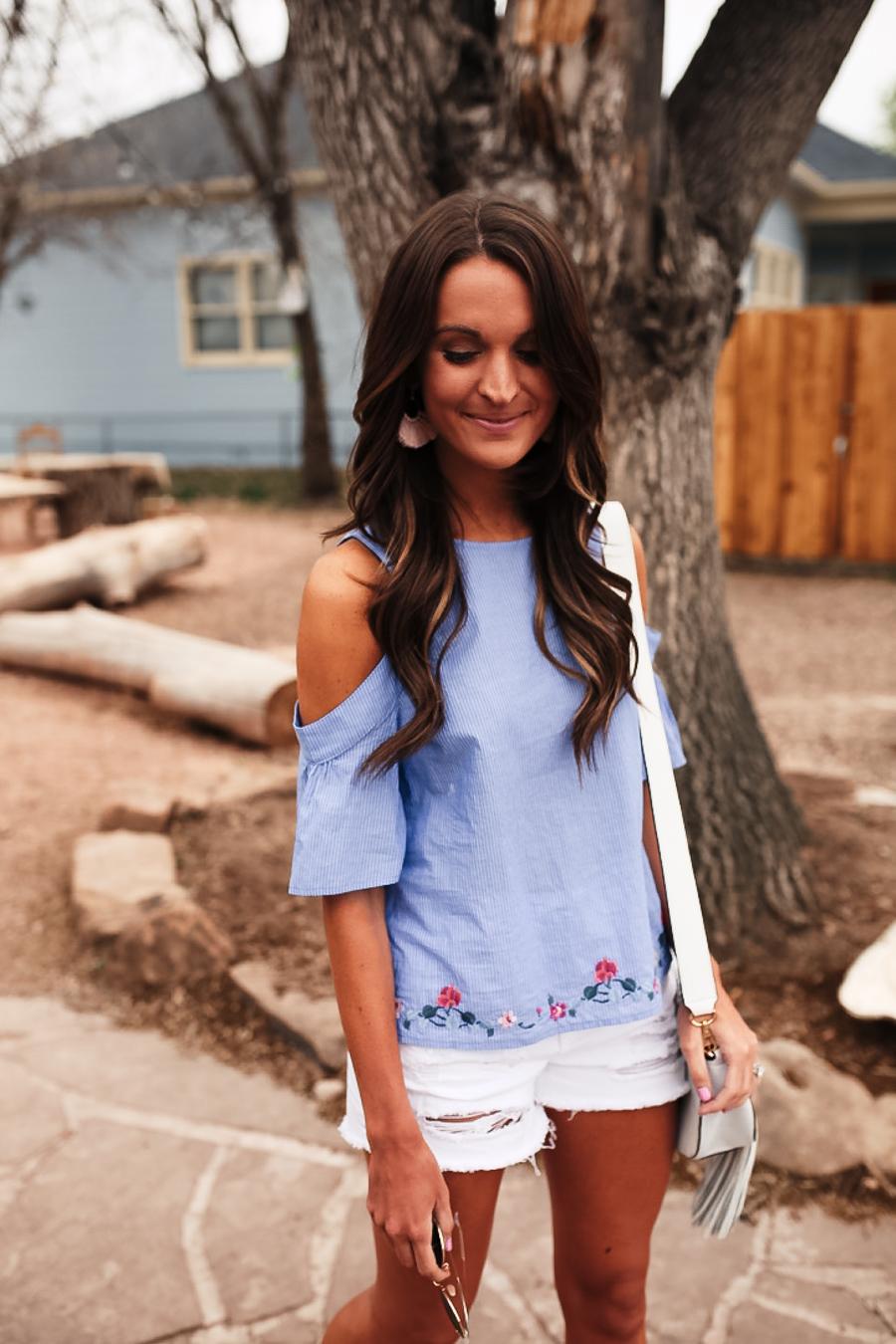 lauren sims blue cold shoulder top
