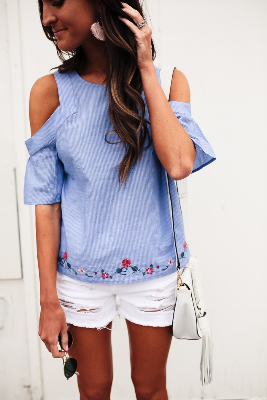 lauren sims blue cold shoulder top