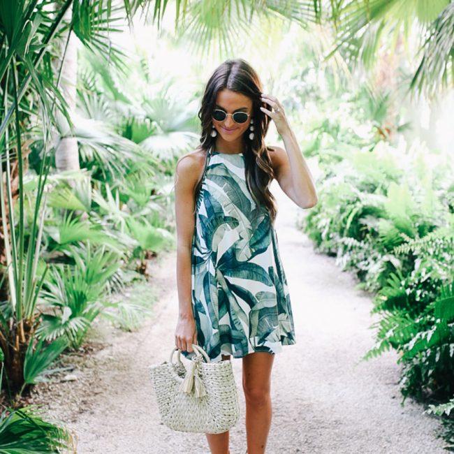 lauren sims palm print dress