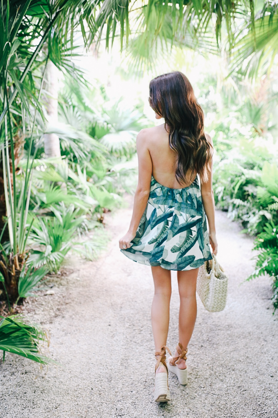 lauren sims palm print dress